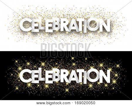 Celebration paper banner with shining sand. Vector illustration.
