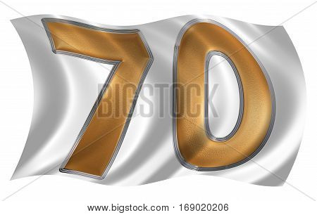 In The Wind Fluttering The Flag With Numeral 70, Seventy, Isolated On White Background, 3D Render