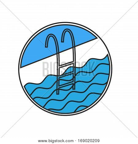 Swimming pool ladder icon. Stock vector illustration for fitness resort logo with handrail and water waves.