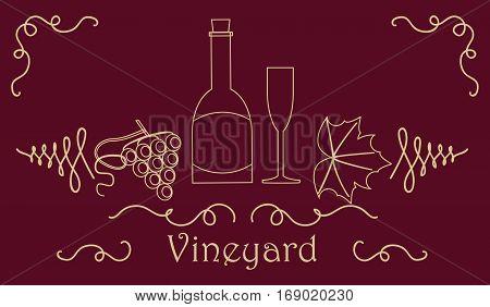 Grape Berry Leaf Vine Bottle