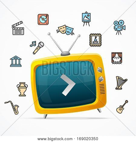 Broadcasting Concept with Retro TV and Culture or Creative Fine Art Line Icons. Vector illustration