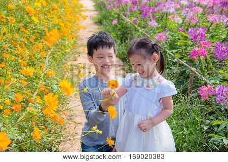 Young asian sibling playing in flower garden