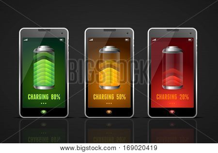 Realistic Charging Batteries Phone Set Level Energy Accumulator Gadget. Vector illustration
