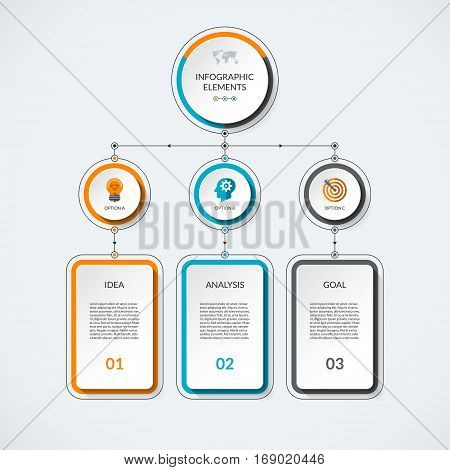 Infographic template with 3 option circles and columns. Modern minimalistic vector banner what can be used as chart diagram graph table workflow layout for web report business presentation