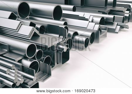 Different metal profile isolated on white. 3d illustration