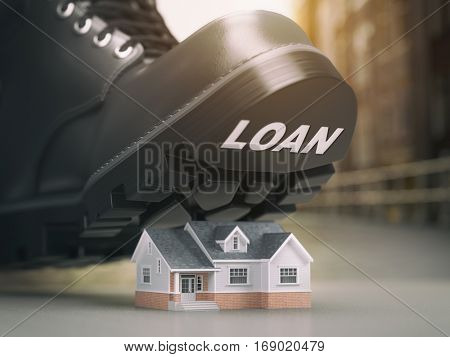 Mortgage house loan crisis concept. Foreclosure and repossession problems. House and boot with loan. 3d illustration