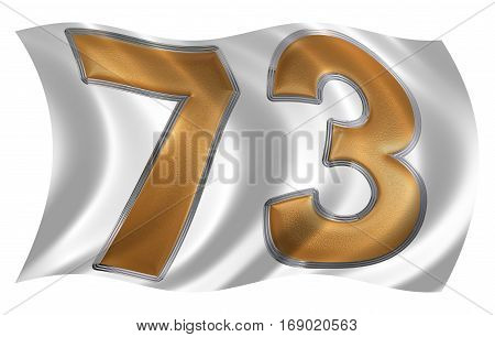In The Wind Fluttering The Flag With Numeral 73, Seventy Three, Isolated On White Background, 3D Ren