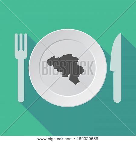 Long Shadow Tableware With  The Map Of Belgium