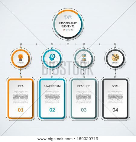 Infographic template with 4 option circles and columns. Modern minimalistic vector banner what can be used as chart diagram graph table workflow layout for web report business presentation