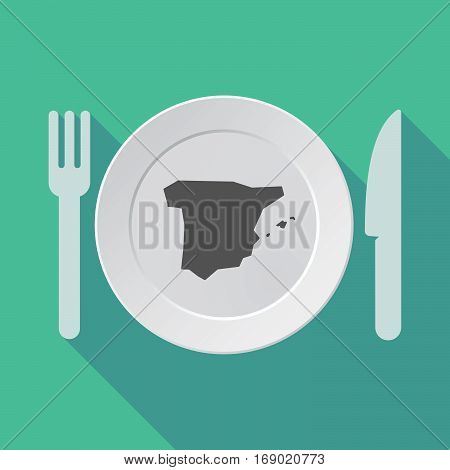 Long Shadow Tableware With  The Map Of  Spain