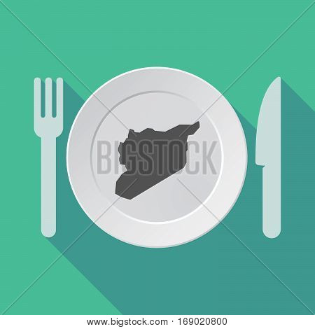 Long Shadow Tableware With  The Map Of Syria