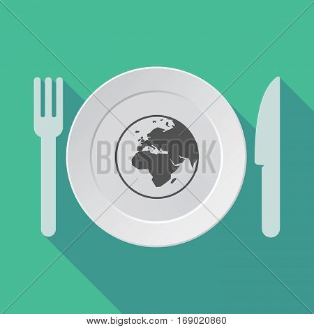Long Shadow Tableware With   An Asia, Africa And Europe Regions World Globe