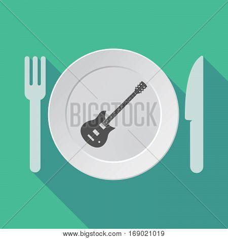Long Shadow Tableware With  An Electric Guitar