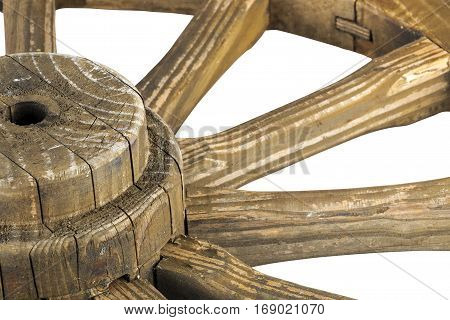 Hub And Spokes Of Wooden Weathered Ornamental Wagon Wheel
