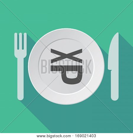 Long Shadow Tableware With  A Tongue Sticking Text Face Emoticon