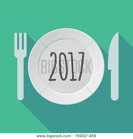 Long Shadow Tableware With  A 2017 Year  Number Icon