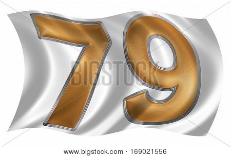 In The Wind Fluttering The Flag With Numeral 79, Seventy Nine, Isolated On White Background, 3D Rend