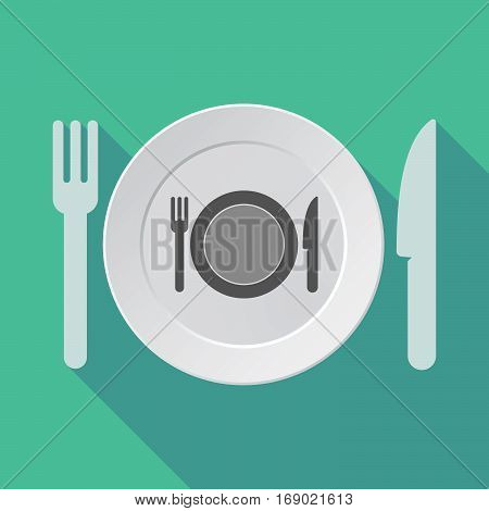 Long Shadow Tableware With  A Dish, Knife And A Fork Icon