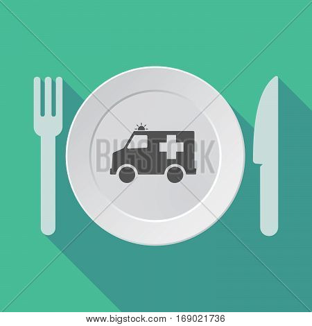Long Shadow Tableware With  An Ambulance Icon