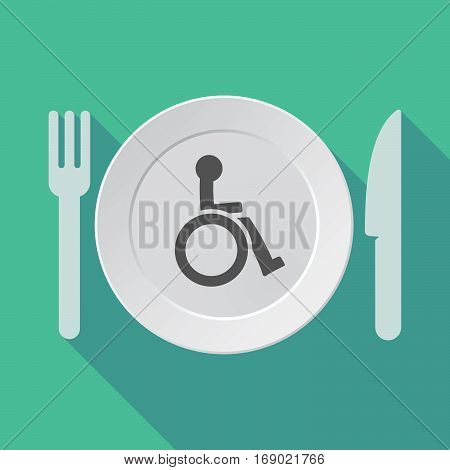 Long Shadow Tableware With  A Human Figure In A Wheelchair Icon