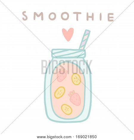 Banana strawberry smoothie. Vector hand drawn illustration