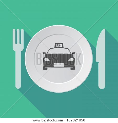 Long Shadow Tableware With  A Taxi Icon