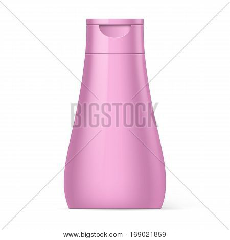 Pink Bottle Shampoo Packaging Isolated over White Background