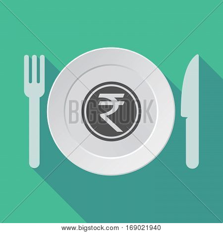 Long Shadow Tableware With  A Rupee Coin Icon