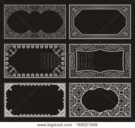 Vintage black set retro cards. Template greeting card wedding invitation. Line calligraphic frames. Floral engraving design labels advertising place for text. Flourishes frame background