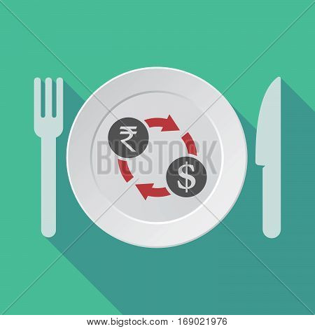 Long Shadow Tableware With  A Rupee And Dollar Exchange Sign