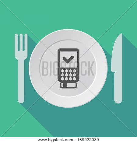 Long Shadow Tableware With  A Dataphone Icon