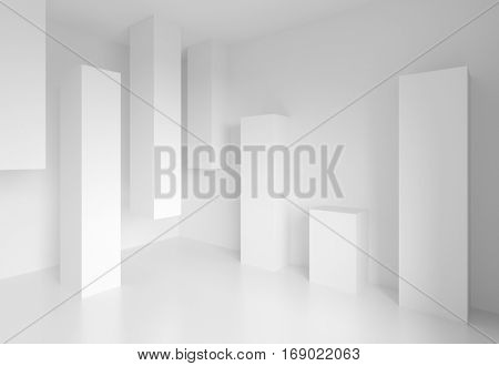 Abstract Architecture Design. White Modern Background. Minimal Building Construction. Column Interior Concept. 3d illustration of Surreal Futuristic Shapes