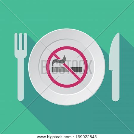 Long Shadow Tableware With  A No Smoking Sign