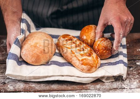 Bread Bun Crusty Fresh Warm Appetizing Homemade Recipe Bakery Concept