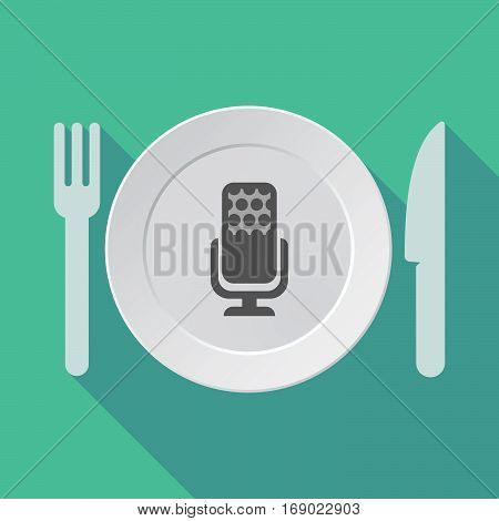 Long Shadow Tableware With  A Microphone Sign