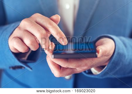 Smartphone in hands of businesswoman modern electronics device as business organizer and communicator