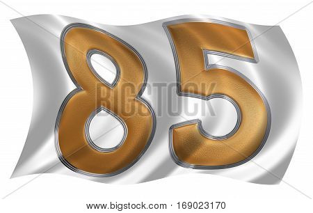 In The Wind Fluttering The Flag With Numeral 85, Eighty Five, Isolated On White Background, 3D Rende