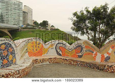 LIMA, PERU - SEPTEMBER 29, 2016: El Parque del Amor Or Love Park in Miraflores, Lima, Peru