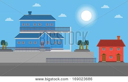 Landscape of big house vector flat collection stock