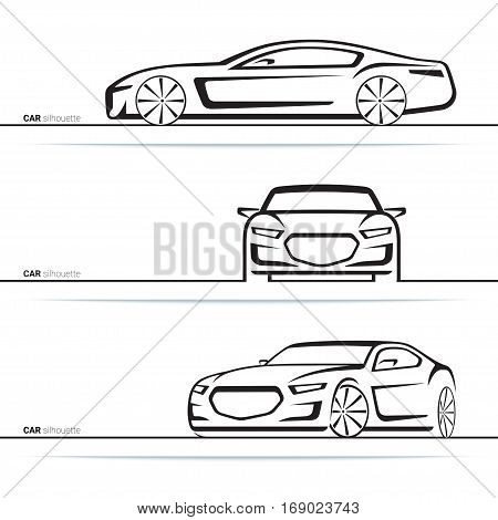 Vector car silhouettes set. Front three-quarter and side view. Abstract hand-drawn modern vehicle isolated on white background