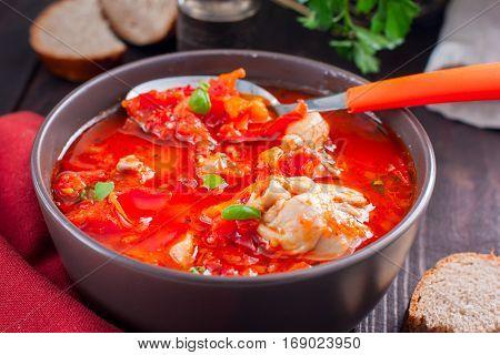 Chakhokhbili - chicken stewed with tomatoes and onions. Georgian national dish