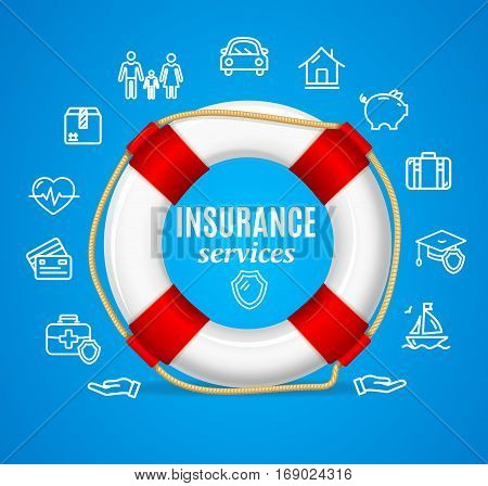 Concept Insurance Support Service with Life Buoy Symbol of Security. Vector illustration
