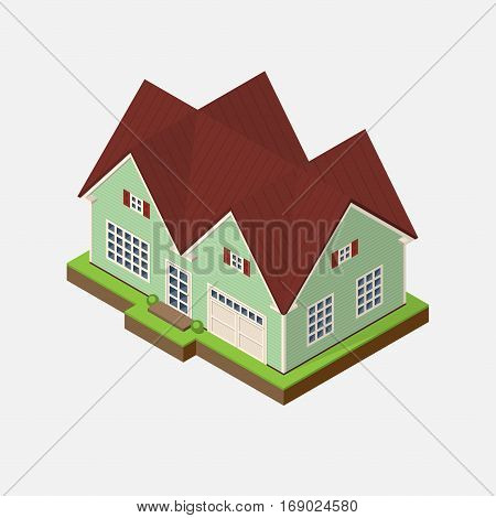 Isometric 3d private house icon. Real estate vector illustration