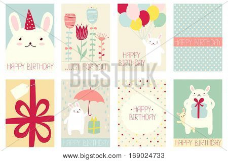 Collection of birthday banner, background, flyer, placard with cute rabbits. Birthday poster for scrapbooking. Template card for greeting, decoration, congratulation, invitation in retro pastel color