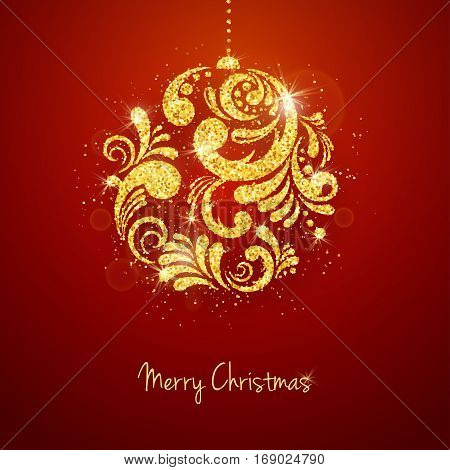 Vector Christmas New Year greeting card with sparkling glitter golden textured Christmas ball on red background. Seasonal holidays background