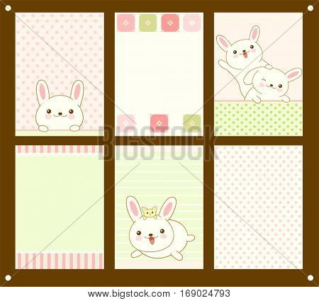 Vector collection of vertical colored cards with Easter rabbits in kawaii style