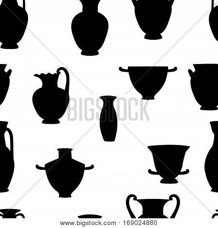 black and white greek traditional vases seamless pattern, vector background
