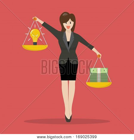 Business woman balancing idea and money on two weighing trays on both hands. Vector illustration