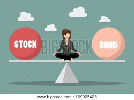 Business woman rebalancing portfolio between stock and bond