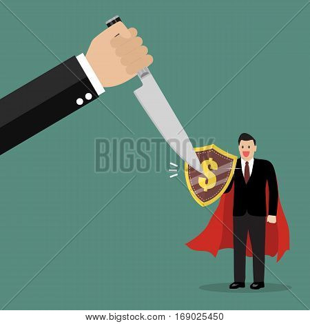 Businessman with shield protecting from big knife. Business concept